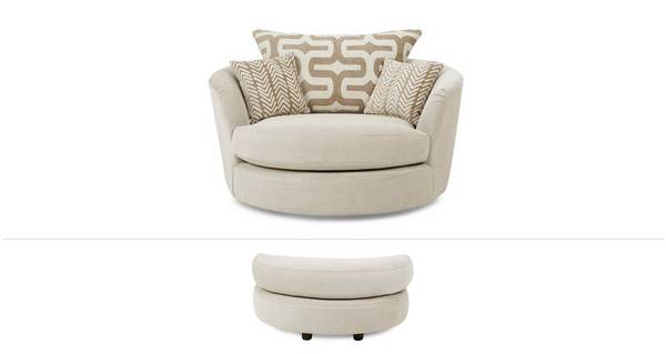 Oslo Clearance Large Swivel Chair and Crescent Moon Footstool