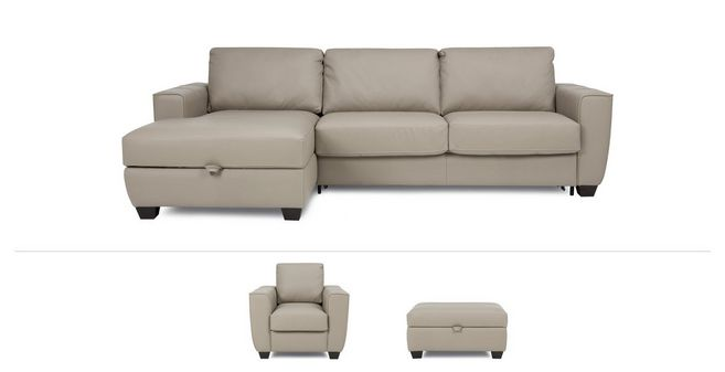 Otto Clearance: Left Hand Facing Storage Chaise Sofa Bed, Armchair And  Large Storage Footstool