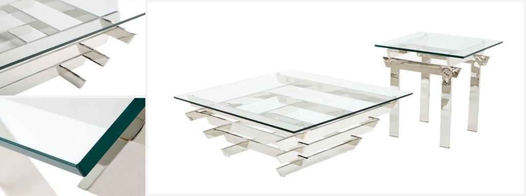 Pagoda Coffee Table Polished Steel And Glass   DFS