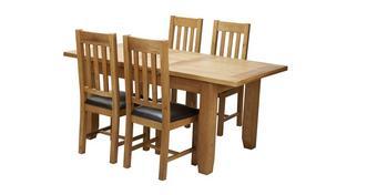 Parker Uitschuifbare eetkamertafel en reeks van 4 stoelen met horizontale latjes