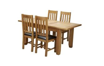 Extending Dining Table & Set of 4 Slat Back Chairs Parker Oak