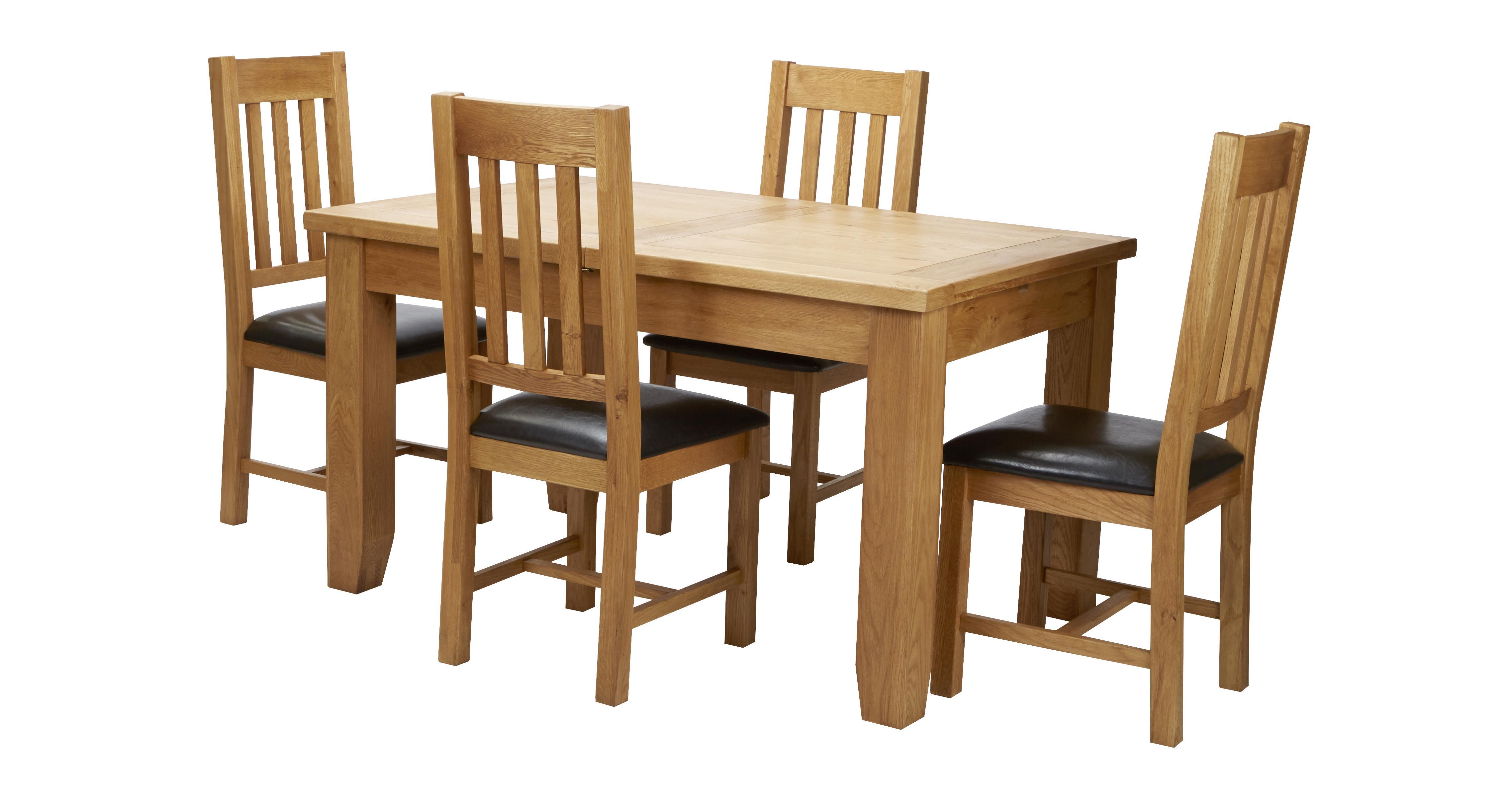 Parker Extending Dining Table Set Of 4 Slat Back Chairs Oak