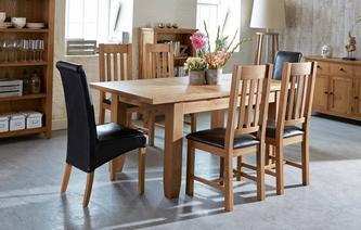 GXD Parker Extending Dining Table Set Of 4 Slat Back Chairs Oak