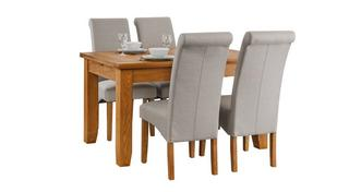 Parker Extending Dining Table & Set of 4 Fabric Scroll Back Chairs