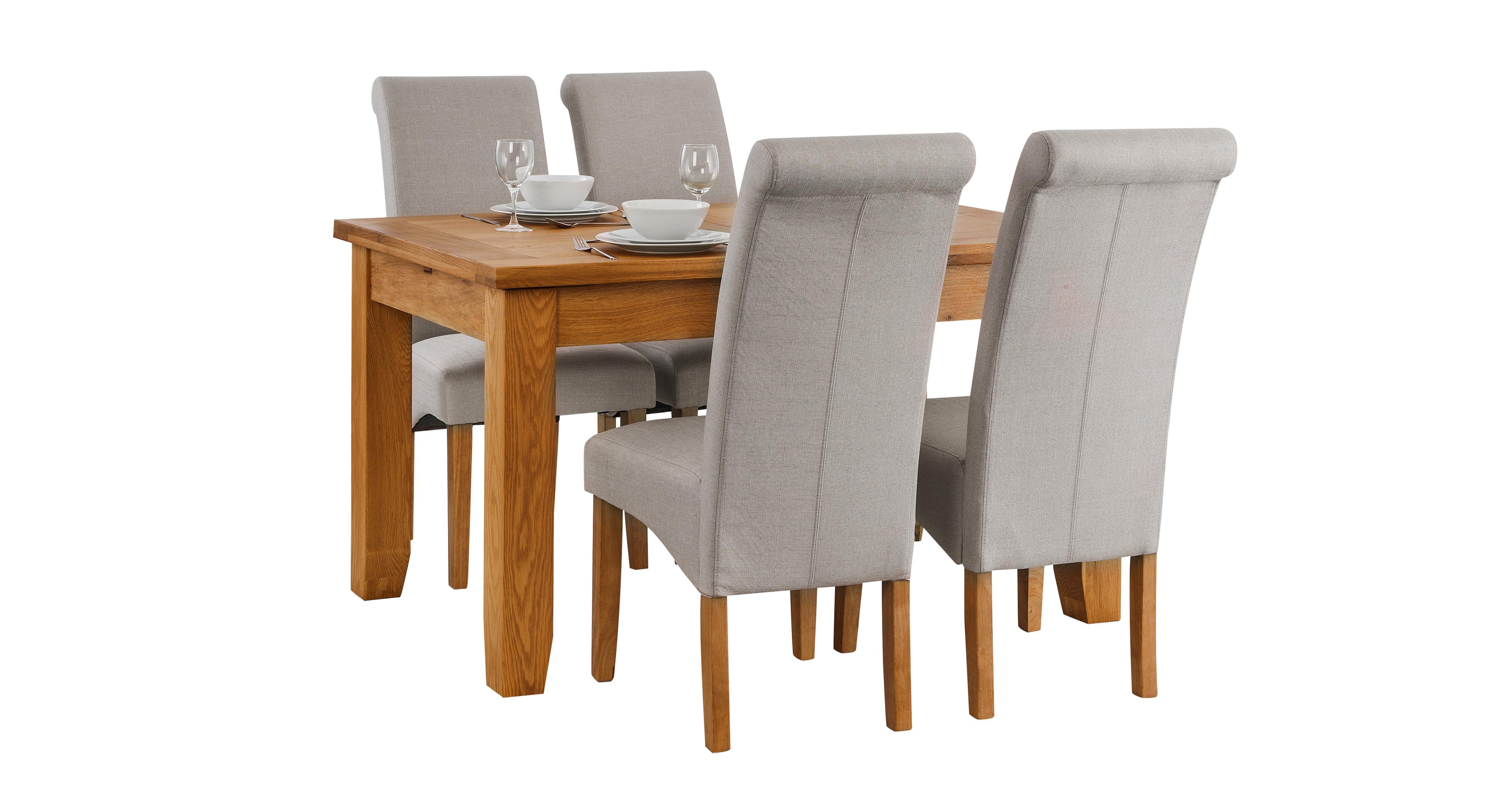 Parker uitschuifbare eetkamertafel en reeks van stof stoelen met