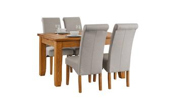 Extending Dining Table & Set of 4 Fabric Scroll Back Chairs