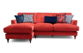 Velvet Left Hand Facing Small Chaise Sofa