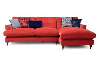 Velvet Right Hand Facing Large Chaise Sofa