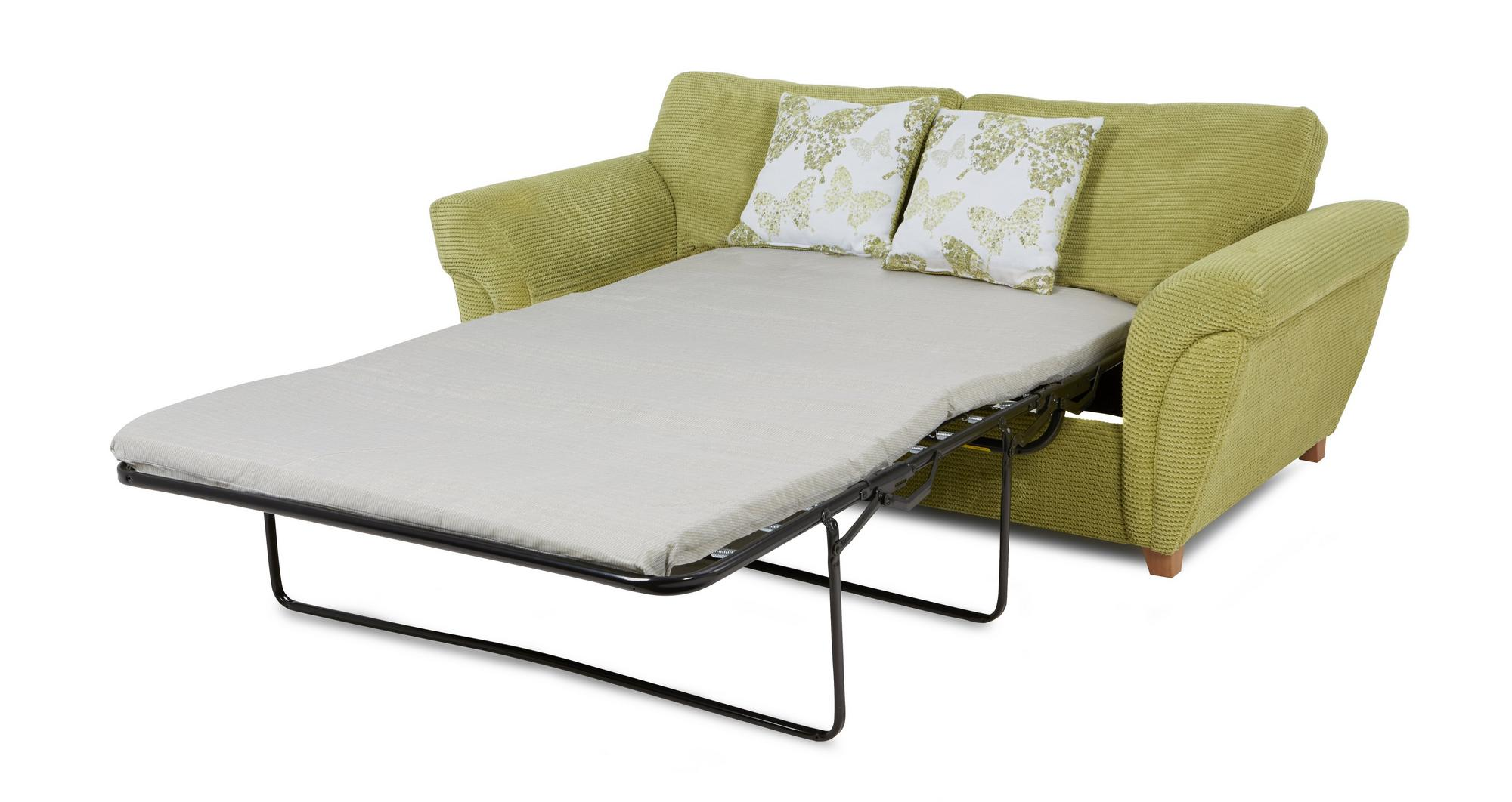 Dfs Pennie Lime Green Fabric 2 Seater Formal Back Sofa Bed