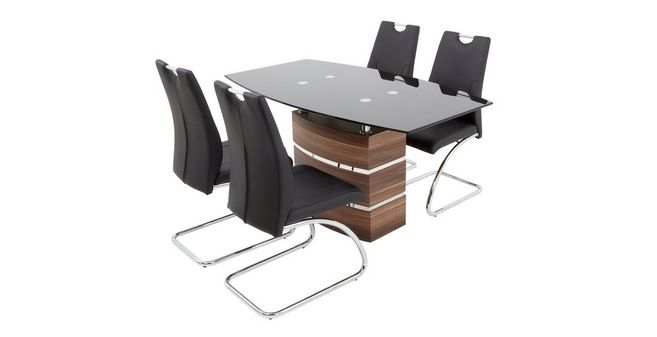 Phoenix Fixed Dining Table And 4 Cantilever Chairs