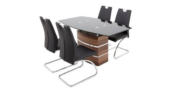 Phoenix Large Fixed Dining Table and 4 Cantilever Chairs