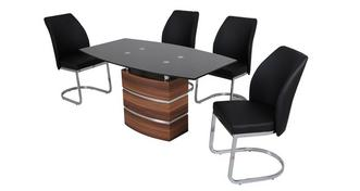 Phoenix Grote vaste eetkamertafel en 4 stoelen