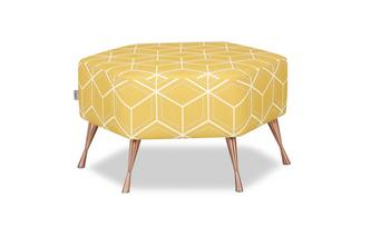 Hexagon Footstool Graphic Geo