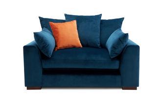 Velvet Pillow Back Cuddler Sofa