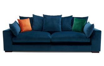 Velvet Pillow Back 4 Seater Sofa