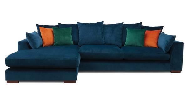 Plush Velvet Pillow Back Left Hand Facing Large Chaise End Sofa Sensual Velvet Dfs