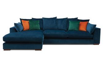 Velvet Pillow Back Left Hand Facing Large Chaise End Sofa