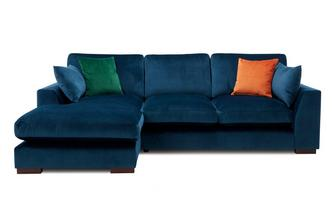 Velvet Formal Back Left Hand Facing Large Chaise End Sofa