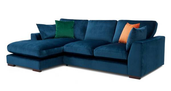 Plush Velvet Formal Back Left Hand Facing Large Chaise End Sofa Sensual Velvet Dfs