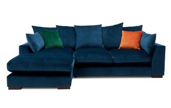 Velvet Pillow Back Left Hand Facing Small Chaise End Sofa