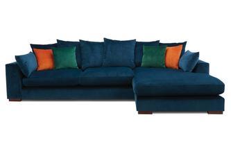 Velvet Pillow Back Right Hand Facing Large Chaise End Sofa