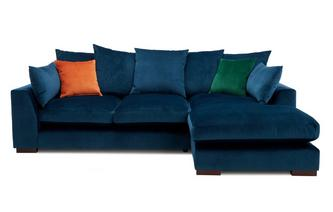 Velvet Pillow Back Right Hand Facing Small Chaise End Sofa