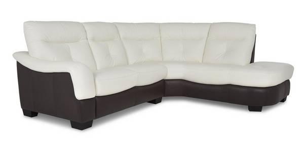 Polar Leather and Leather Look Left Arm Facing 2 Piece Corner Sofa
