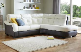Polar Leather and Leather Look Left Arm Facing 2 Piece Corner Sofa Essential