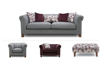 4 Seater, Cuddler, Armchair & 2 x Stools