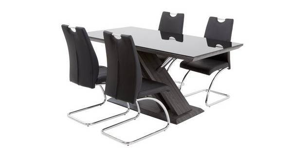 Prospect Fixed Table and Set of 4 Cantilever Chairs