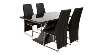 Prospect Vaste eettafel & reeks van 4 stoelen