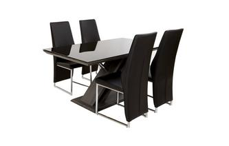 Vaste eettafel & reeks van 4 stoelen Prospect
