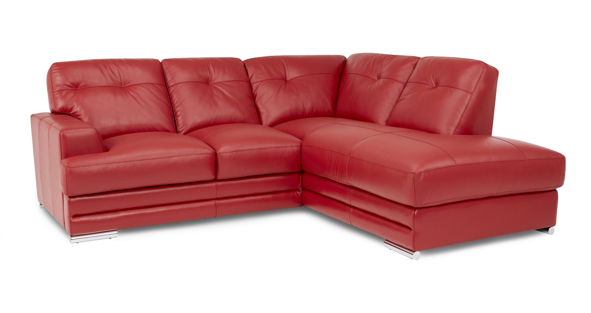 Dfs Quantum Enzo Red 100 Leather Left Hand Corner Sofa Chair Stool Ebay