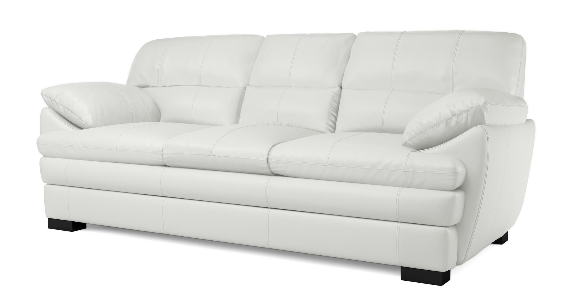 Dfs Quentin Aspen White 100 Leather 3 Seater Sofa