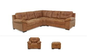 Rafael Clearance 3 Piece Corner Sofa, Armchair and Storage Footstool Grand Outback