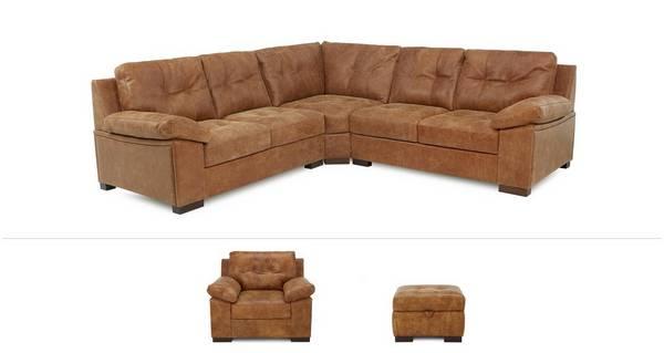 Rafael Clearance 3 Piece Corner Sofa, Armchair and Storage Footstool