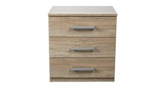 Reno 3 Drawer Bedside Table
