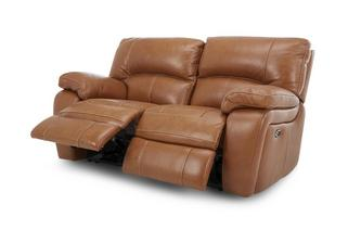 Leather and Leather Look 2 Seater Electric Recliner Brazil Contrast with Leather Look Fabric