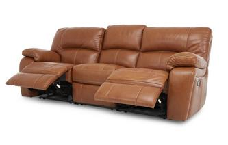 3 Seater Manual Triple Recliner Brazil Contrast with Leather Look Fabric
