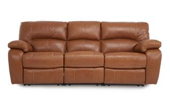 Leather and Leather Look 3 Seater Electric Triple Recliner Brazil Contrast with Leather Look Fabric