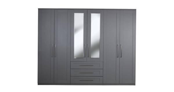 Rhode 6 Door 3 Drawer Centre Mirror Wardrobe
