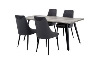 Fixed Dining Table & Set of 4 Chairs