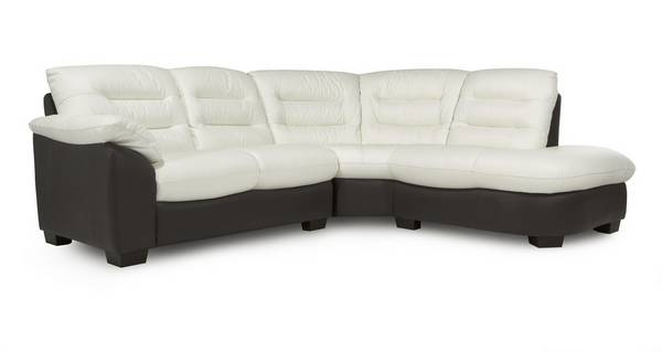 Ripple Leather and Leather Look Left Arm Facing 2 Piece Corner Sofa