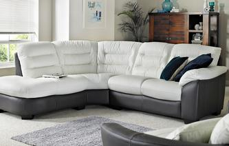 Ripple Leather and Leather Look Right Arm Facing 2 Piece Corner Sofa Essential