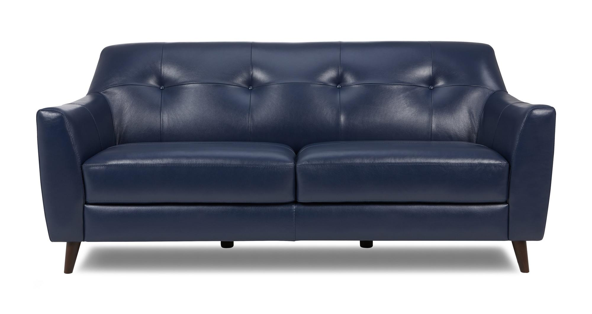 Dfs Ritchie Ocean Blue 100 Leather 3 Seater Sofa Ebay
