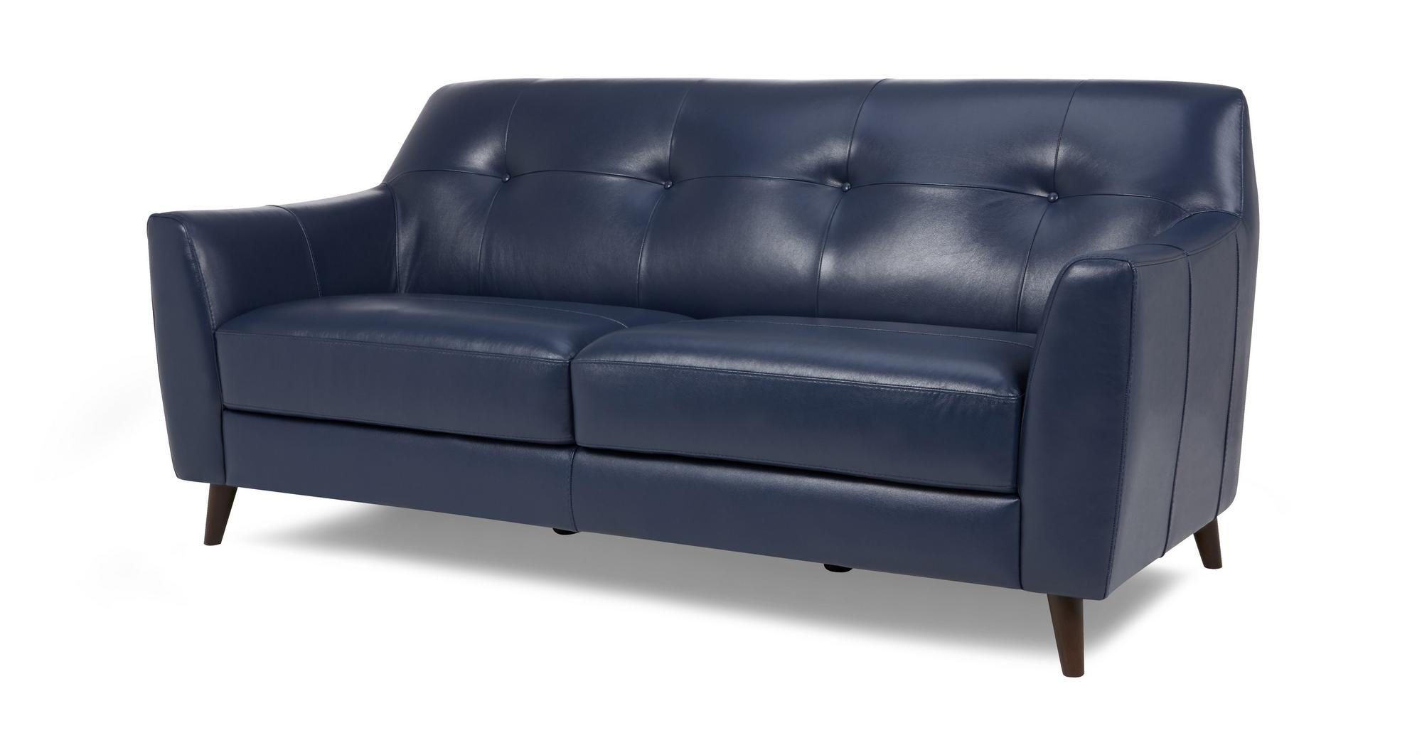 DFS Ritchie Ocean Blue 100% Leather 3 Seater Sofa