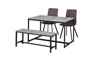 Fixed Top Table with 2 Fabric Chairs and 1 Bench