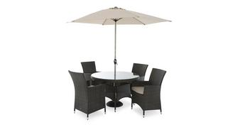 Roseville Table & 4 Chairs with Parasol & Base