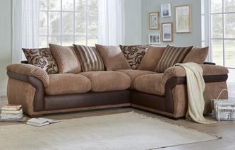 Rufus Pillow Back Left Hand Facing 2 Seater Corner Deluxe Sofa Bed Inception