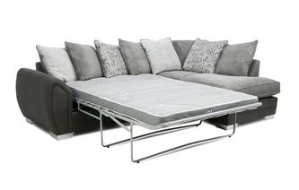 Pillow Back Left Hand Facing 3 Seater Open End Deluxe Corner Sofabed